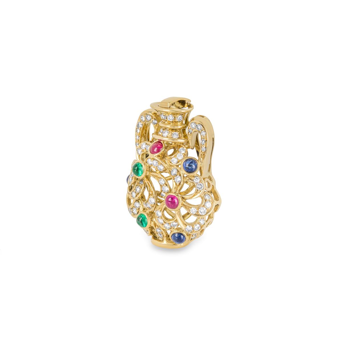 Diamond & Multi-Gemstone Yellow Gold Vase Pendant